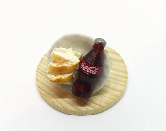 Cute Snack ring, Miniature Food ring with Sandwich and Coke
