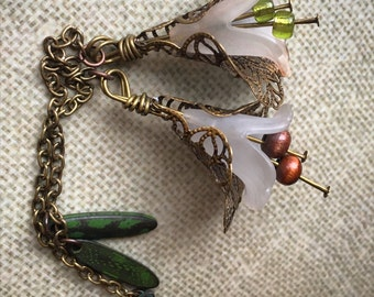 Vintage Lily Dangle Chains for Magnetic Tunnels!(Tunnels NOT included)Dangle Gauges/Hippie/Wedding/Flower Plugs/Bohemian/Tribal