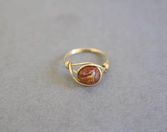 Picasso jasper ring, red gemstone ring, gold wire ring, wire ring, wire wrapped ring, red stone ring, gold wire ring, gold ring, custom ring