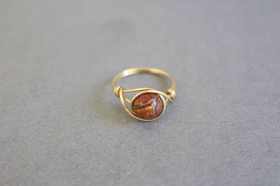 Picasso Jaspis Ring roter Edelstein-Ring gold Drahtring