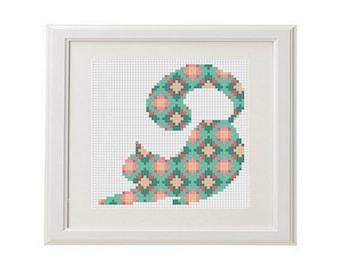 Cat cross stitch pattern cat Cute cat Geometric cross stitch animal cross stitch Multicolor cross stitch modern crossstitch PDF