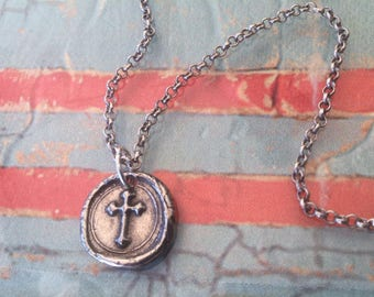 Cross Necklace Cross Wax SeaL Necklace oxidized Sterling Silver chain Necklace