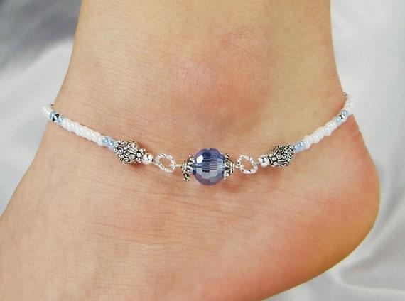 Anklet Ankle Bracelet Light Blue Disco Ball Crystal Beaded