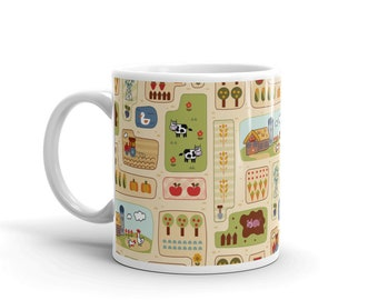 The Farm Mug (farmer, kids, animal, food, farming, farm, hot chocolate, coffee, tea, milk, pattern, children's mug, mealtime by Kathrin Legg