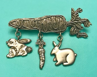 Vintage Carrot and Bunny Rabbits Bunnies Carrots Easter Pin Brooch