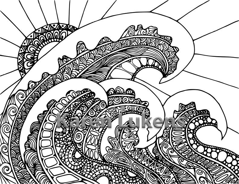5 pages ocean pack 2 5 adult coloring book pages printable instant download