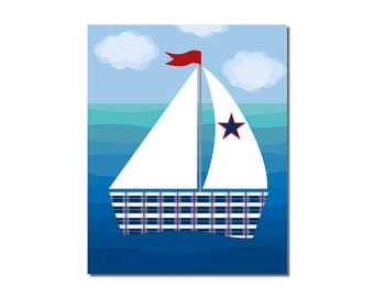 S A L E -Sailboat 1 - 8x10 Children's Art Print - Nautical Ocean Beach Theme