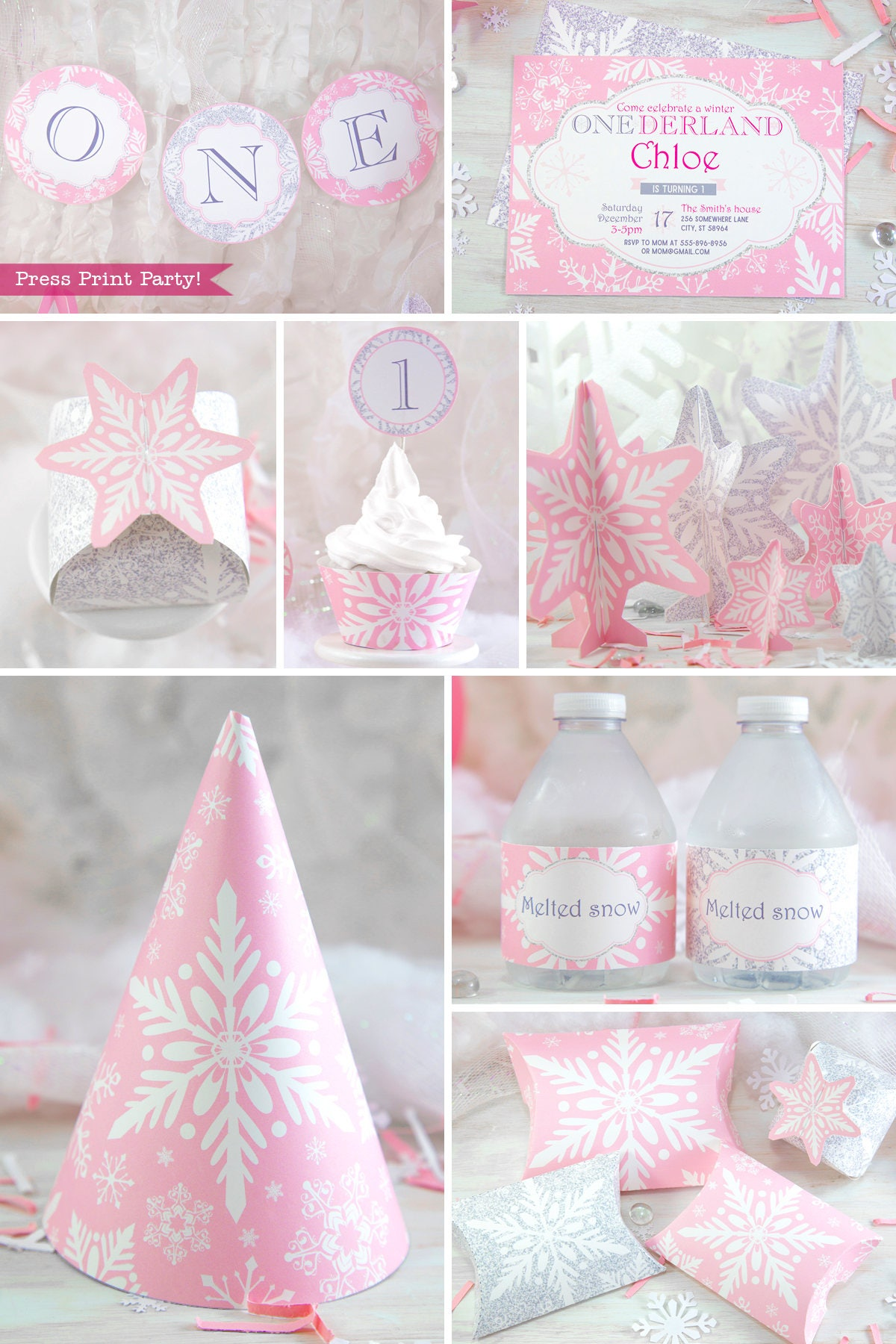 Winter ONEderland Party Decorations Printable Pack Pink and