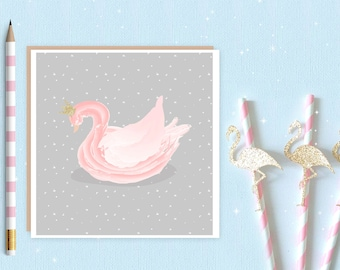 Ballerina Swan Lake Blank Greeting Card - ballet card - ballet - swan lake - swan - ballerina - ideal for ballet lovers and ballerina's