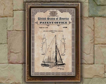 Herreshoff nautical sailboat Patent Print, sailboat Gift, sailboat Patent Print, Wall Decor, Patent Decor, sailboat Decor, sailboat Art