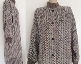 1980's Chunky Grey Knit Sweater Coat Plus Size XXL 2XL 3XL by Maeberry Vintage