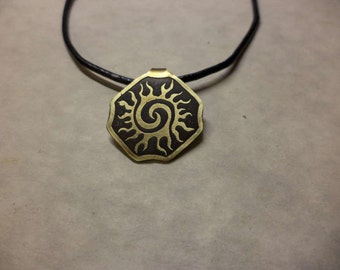 Small Etched Brass Celtic Sun Pendant