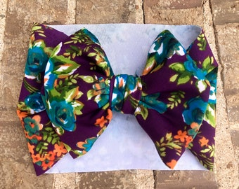 Plum and teal floral Headwrap