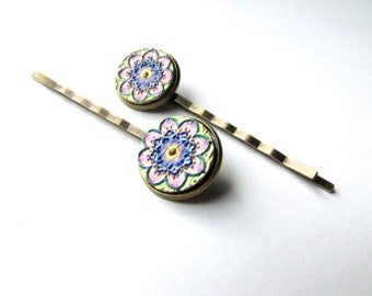 Flower Mandala Bobby Pins or Snap Hair Clip Barrettes, Kaleidoscope