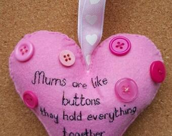 Handmade felt hand embroidered hanging heart decoration