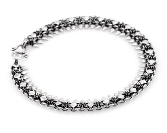 Silver chain link bracelet - Oxidized Silver dainty braclet - Birthday gift- Free Shipping