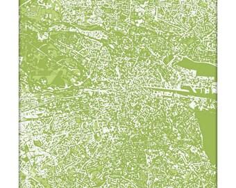 Dublin Cityscape Print / Ireland Map Wall Art / 8x10 Graphic Art Print / Choose your color