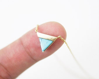 Gold Framed Turquoise Stone Triangle Pendant Necklace Bridesmaid Gift Bridesmaid Necklace Simple and Modern Necklace