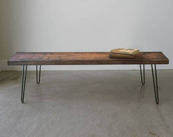 Reclaimed Coffee Table & Bench w/ Hairpin Legs