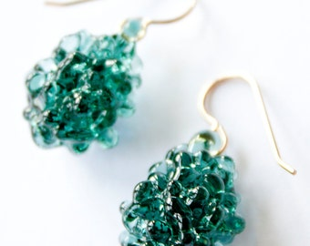 Glass Cluster Ball Earrings - Emerald