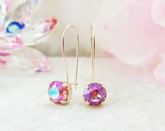 Pink Crystal Drop Earrings - Swarovski Crystal Dangle Earrings - Pink Morganite Earrings -  Violet and Rose Pink Gold Earrings for Her E3449