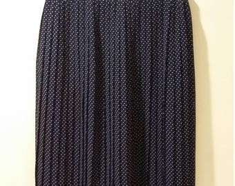 Polka dot skirt, XS, S, organ pleated skirt, 80s skirt, navy blue skirt, nautical skirt, 70s skirt, blue skirt, silk skirt