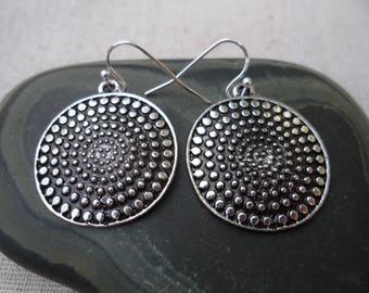 Boho Disc Earrings - Moroccan Earrings - Silver Bohemian Earrings - Everyday Silver Earrings