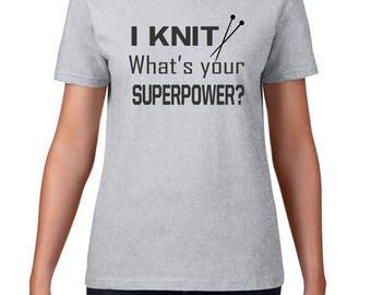 knitting shirt, knitter shirt, gift for knitter, knitter gift, I KNIT, I knit what's your superpower, knit superpower, knitting Christmas