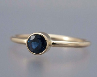 Blue Sapphire Yellow Gold Ring -  Thin Engagement Ring in solid 14k yellow gold