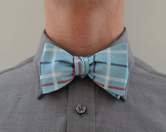 Men's Bow Tie in Blue Plaid- freestyle wedding groomsmen custom bowtie neck self tie navy robins egg blue red plaid white