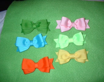2 1/2   inch Dbl   Hair Bows on Hairclips  502  total of 6