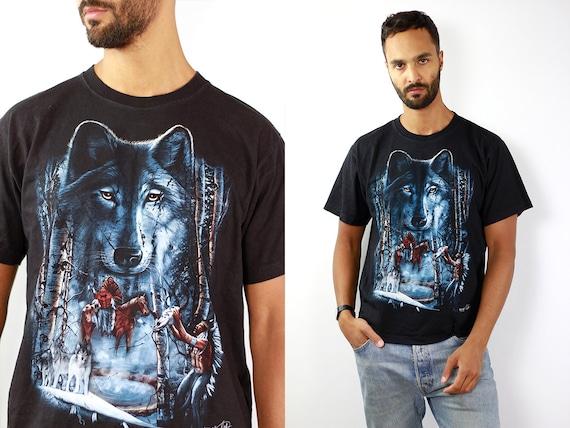 Wolf T-Shirt Nostalgic Native American T-Shirt Magic Wolf Shirt Band Shirt Black Vintage T-Shirt Wolf Biker T-Shirt Retro Trucker Shirt Wolf