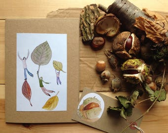 Autumn Leaves - Print from original watercolour painting - blank greeting card and gift tag