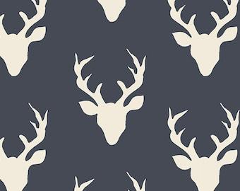 Buck Forest Twilight Hello Bear Bonnie Christine Art Gallery Fabric Navy Blue Ivory Deer Stag Head Antler Boy Fabrics Hunting Yard Half Yard