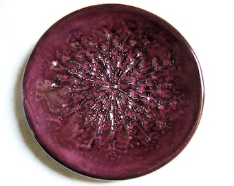 Plum Eggplant Queen Anne's Lace Pottery Dish or Bowl