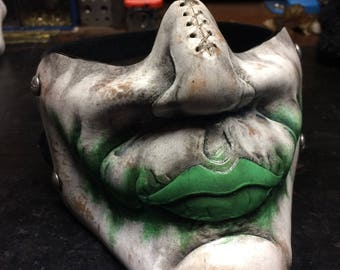 Leather Joker mask in green inspired by Heath Ledgers Joker