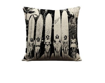 18x18in Hawaii Surfer Girls Pillow Cover