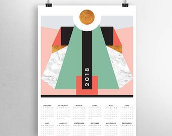 2018 Calendar, Yearly Calendar 2018, Large Wall Calendar, Wall Calendar 2018, Printable Calendar, Mid Century Modern Art, Instant Download