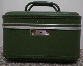 Vintage olive green train case with original key, mirror