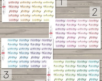 Watercolour Days of the Week Header Stickers