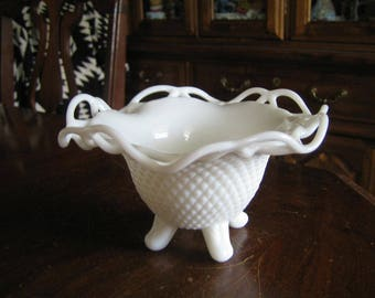 Imperial Glass Milk Glass Open Lace Footed Bowl