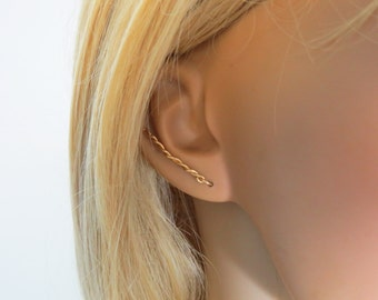 Gold bar Earrings, Twisted Ear cuff, Minimalist Earrings, Simle line earrings, trendy earrings