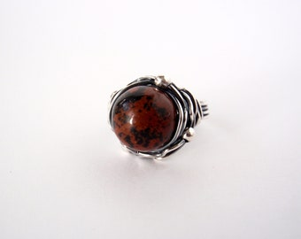 Mahogany Obsidian Ring ~ Aus/UK Size N ~ US Size 6.5 ~ Handcrafted Sterling Silver Orbit Ring ~ Oxidised ~ Dark Red-Brown and Black Stone