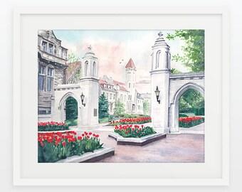 IU/Indiana University/Sample Gates/IU Campus/Graduation Gift/Campus Building/Hoosiers/Bloomington/Indiana/Watercolor/College Gift/Grad Gift