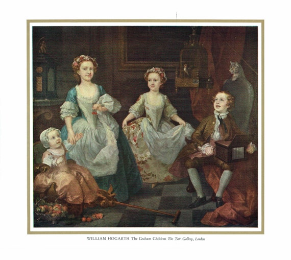 Vintage print of painting by William Hogarth, The Graham Children, painted 18th century, print 13 x 10.5 inches, published 1950s
