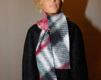 Solid black Fleece coat & plaid scarf for male fashion dolls - kdc101