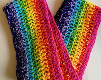 Oversized chunky blended rainbow infinity scarf