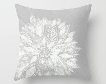 Grey White Flower Throw Pillow, grey throw pillow, gray throw pillow, grey white pillow, grey flower pillow, floral throw pillow