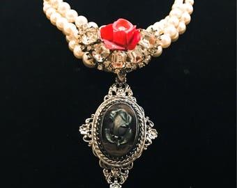 Red Rose Repurposed Necklace