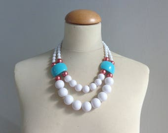 White turquoise necklace, colorful chunky necklace, modern tribal statement bib necklace, summer necklace